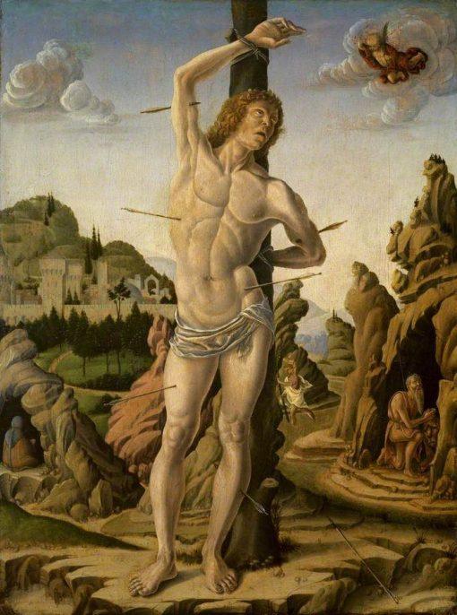 Saint Sebastian in a Rocky Landscape with Saints Jerome