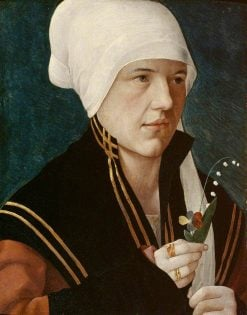A Woman Holding a Lily-of-the-Valley and a Pansy   Marx Reichlich   Oil Painting