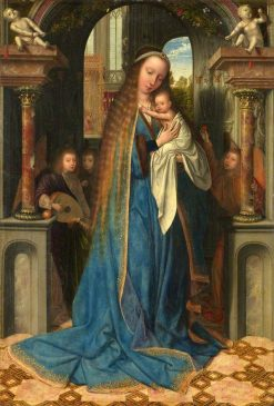 The Virgin and Child with Angels   Quentin Massys   Oil Painting