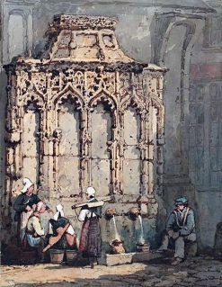 Figures at La Fontaine de la Crosse in Rouen | Samuel Prout | Oil Painting