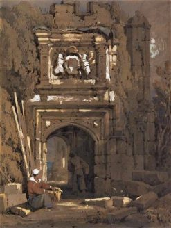 Gothic archway with a standing and a seated man | Samuel Prout | Oil Painting