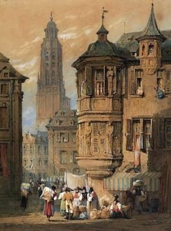 Wurzburg with the Kiliansdom   Samuel Prout   Oil Painting