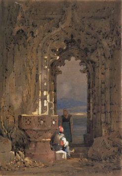 Gothic ruin - archway and font (Whitby Abbey?) | Samuel Prout | Oil Painting
