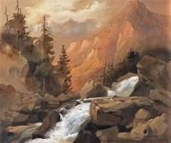 Mountain Landscape with Waterfall | William James Muller | Oil Painting
