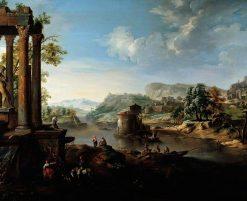 Classical Landscape with River and Figures | Jacob de Heusch | Oil Painting