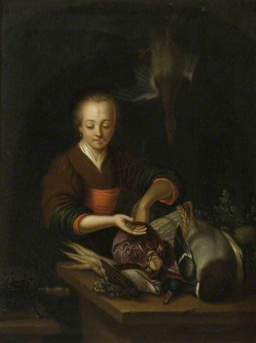 A Woman Stuffing a Bird | Frans van Mieris the Elder | Oil Painting