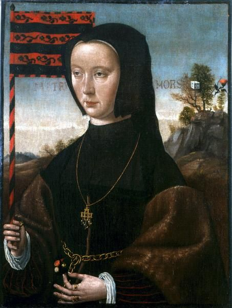 Portrait of a Lady with a Standard   Jan Mostaert   Oil Painting