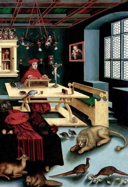 Cardinal Albrecht of Brandenburg as Saint Jerome   Lucas Cranach the Elder   Oil Painting