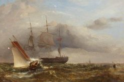 Pilot Cutter in Stormy Sea | James Harris Senior | Oil Painting