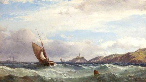 Ships Off Mumbles   James Harris Senior   Oil Painting