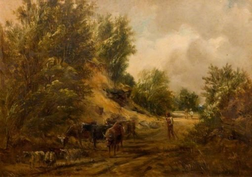 Man Driving Cattle and Sheep | Alfred Vickers | Oil Painting