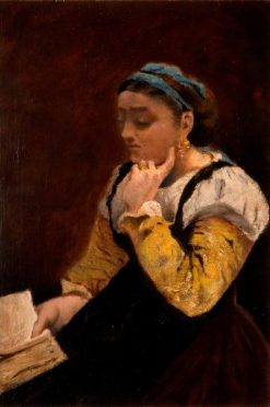 Woman Reading | Jean Baptiste Camille Corot | Oil Painting