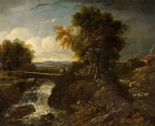 Bridge and Waterfall Scene   James Holland   Oil Painting