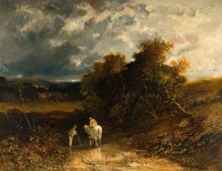 Countrymen with a White Horse | James Holland | Oil Painting