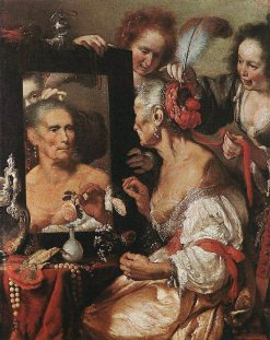 An Old Woman Appearing Before a Mirror | Bernardo Strozzi | Oil Painting