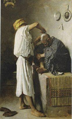At the Barber's Shop | LEon Joseph Florentin Bonnat | Oil Painting