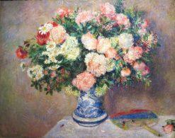 Chrysanthemums and Japanese Fan | Pierre Auguste Renoir | Oil Painting