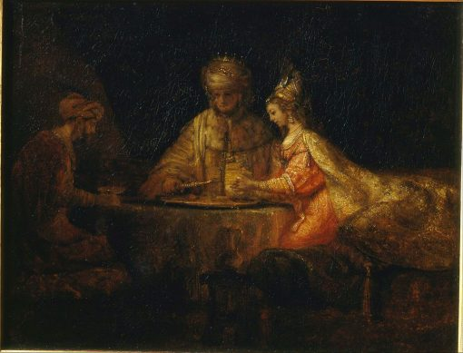 Ahasuerus and Haman at the Feast of Esther | Rembrandt van Rijn | Oil Painting