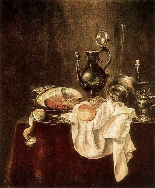 Ham and Silverware   Willem Claesz. Heda   Oil Painting