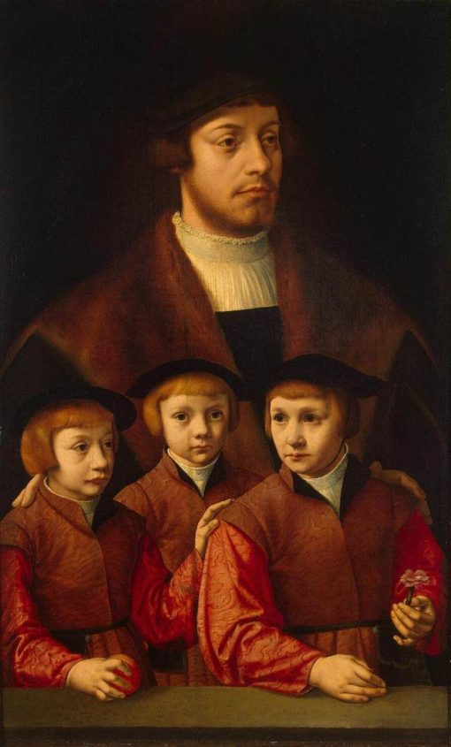 Portrait of a Man with Three Sons   Bartholomaeus Bruyn the Elder   Oil Painting