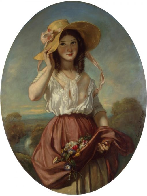Girl with Flowers | Camille Joseph Etienne Roqueplan | Oil Painting
