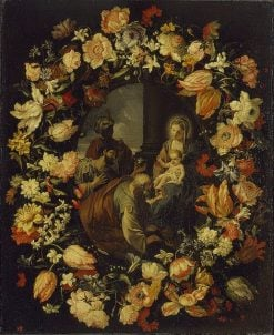 Adoration of the Magi' Framed by a Garland of Flowers | Carlo Maratta | Oil Painting
