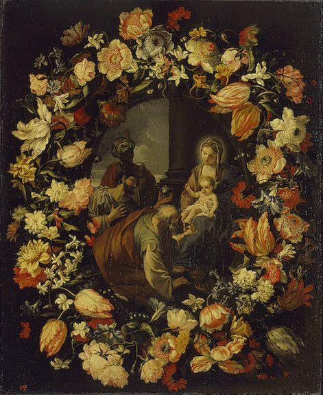 Adoration of the Magi' Framed by a Garland of Flowers   Carlo Maratta   Oil Painting