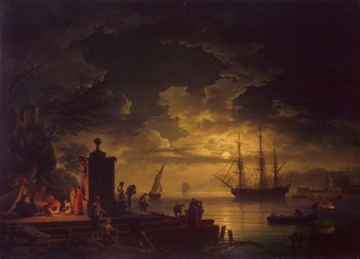 Moonlit Scene in the Environs of Citta Nuova in Illyria | Claude Joseph Vernet | Oil Painting