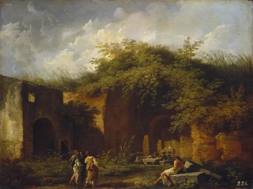 Landscape with Ruins. The Grotto of Nymph Egeria   Claude Joseph Vernet   Oil Painting