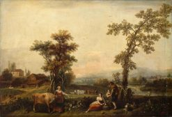 Landscape with a Woman Leading a Cow   Francesco Zuccarelli   Oil Painting