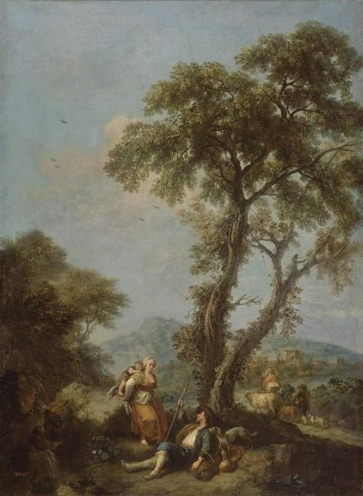 Landscape with a Woman Carrying a Child | Francesco Zuccarelli | Oil Painting