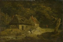 Landscape with a Horseman and Two Cottages | George Morland | Oil Painting