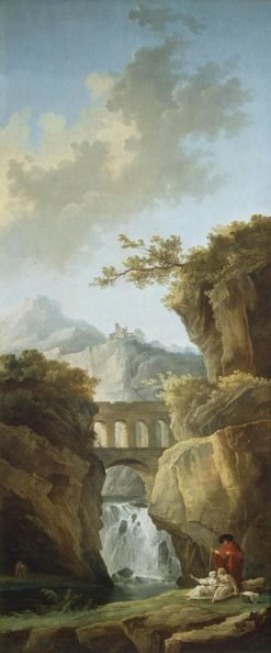 Landscape with an Aqueduct in the Mountains | Hubert Robert | Oil Painting
