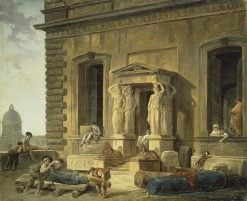 Palace Porch with a Portico and Caryatids | Hubert Robert | Oil Painting