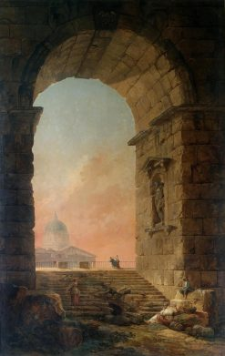 Landscape with an Arch and The Dome of St Peter's in Rome | Hubert Robert | Oil Painting