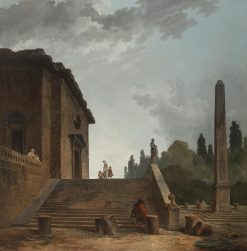 Landscape with a Stairs and Obelisk | Hubert Robert | Oil Painting