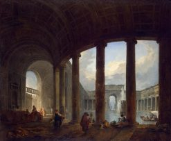 Pool Surrounded by a Colonnade (Villa Giulia ?) | Hubert Robert | Oil Painting
