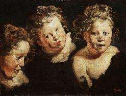 Three Studies of a Child's Head   Jacob Jordaens   Oil Painting