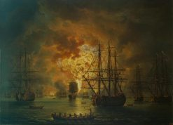 Destruction of the Turkish Fleet in the Bay of Chesme | Jakob Philipp Hackert | Oil Painting