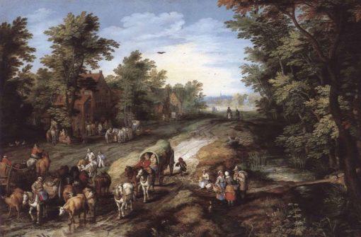 A Village Street | Jan Brueghel the Elder | Oil Painting