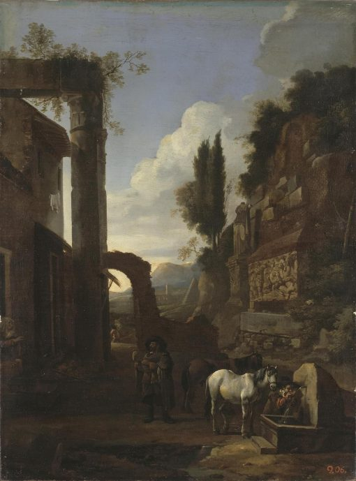 A Road in the Roman Campagna | Jan Miel | Oil Painting