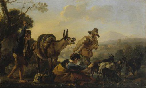 A Genre Scene   Jan Miel   Oil Painting