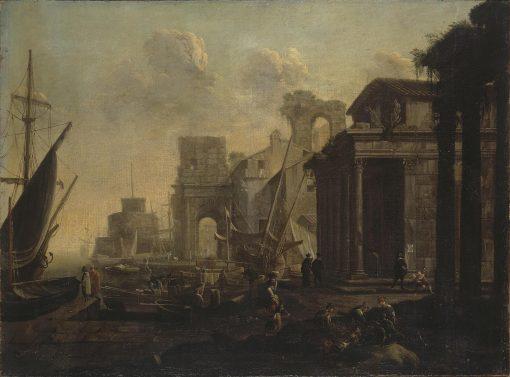 A Harbour Scene | Jan Miel | Oil Painting