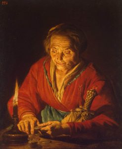 Old Woman with a Candle | Matthias Stomer | Oil Painting