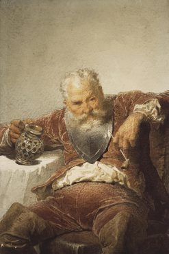 Falstaff with a Tankard of Wine and a Pipe | Mihaly Zichy | Oil Painting