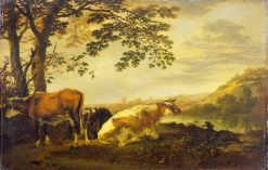 Cattle on a River Bank | Abraham van Calraet | Oil Painting