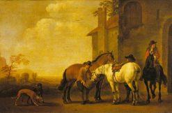 Halt at an Inn   Abraham van Calraet   Oil Painting