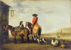 Two Horsemen at a Tavern   Abraham van Calraet   Oil Painting