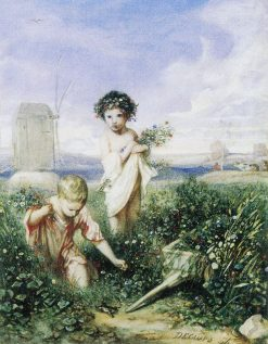 Children Gathering Flowers | Alexandre Gabriel Decamps | Oil Painting