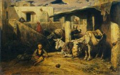 Asses Resting: A Turkish Scene(also known as Un village Turc) | Alexandre Gabriel Decamps | Oil Painting